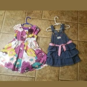 Girls 3T Dress Lot Of 2 Cherokee And Oshkosh Cute
